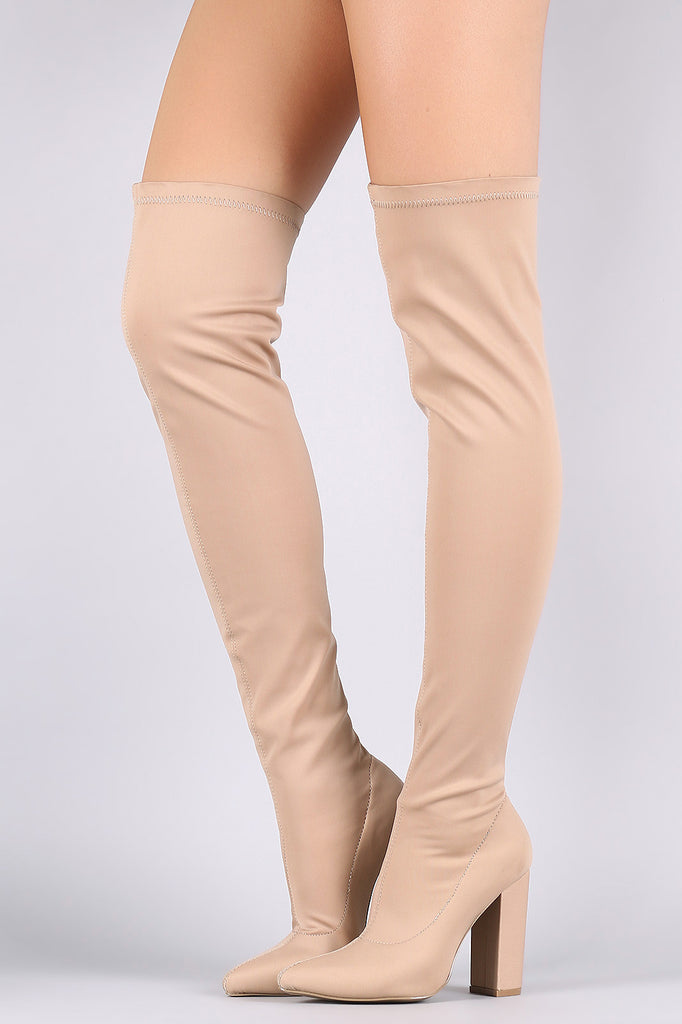 Qupid Elastane Pointy Toe Chunky Heeled Over-The-Knee Boots