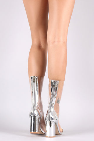 Metallic Trim Transparent Chunky Heeled Mid Calf Boots