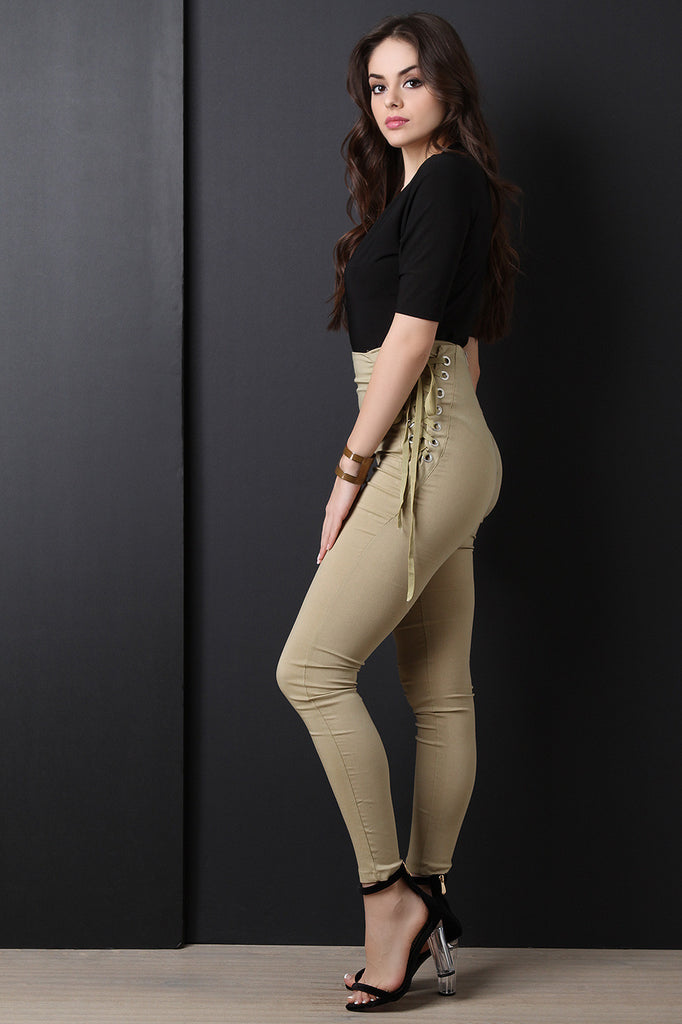 Corset Side Lace Up Taper Pants