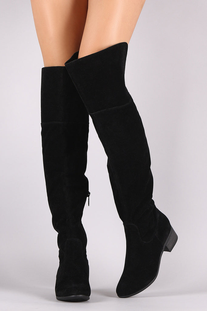 Breckelle Suede Slit Riding Over-The-Knee Boots