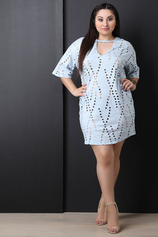 Laser Eyelet Striped Cutout T-Shirt Dress