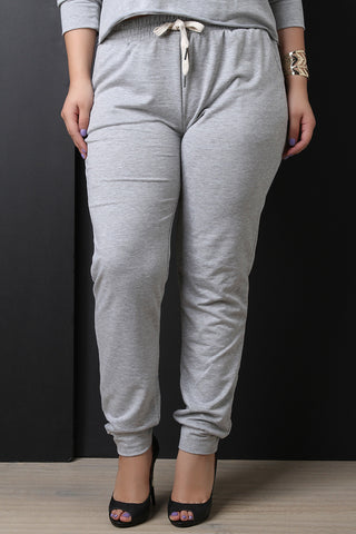 Casual Soft Knit Drawstring Jogger Pants