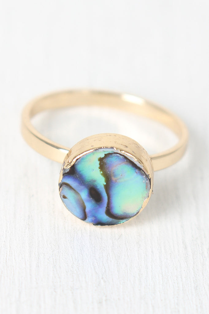 Abalone Shell Circle Ring
