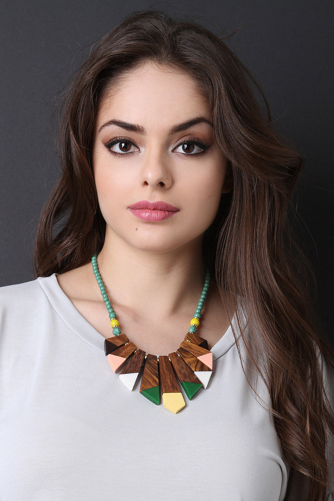 Geometric Wooden Beads Statement Necklace