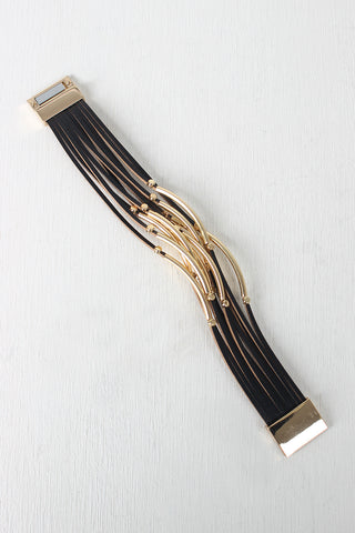 Beaded Curved Bars Vegan Leather Bracelet