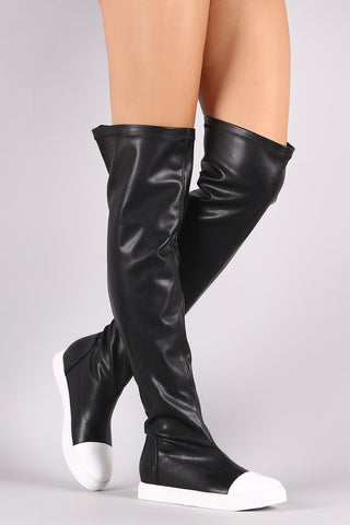 Contrast Cap Toe Over-The-Knee Sneaker Boots