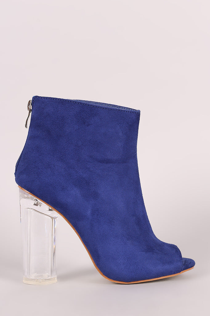 Suede Peep Toe Chunky Perspex Heeled Ankle Boots