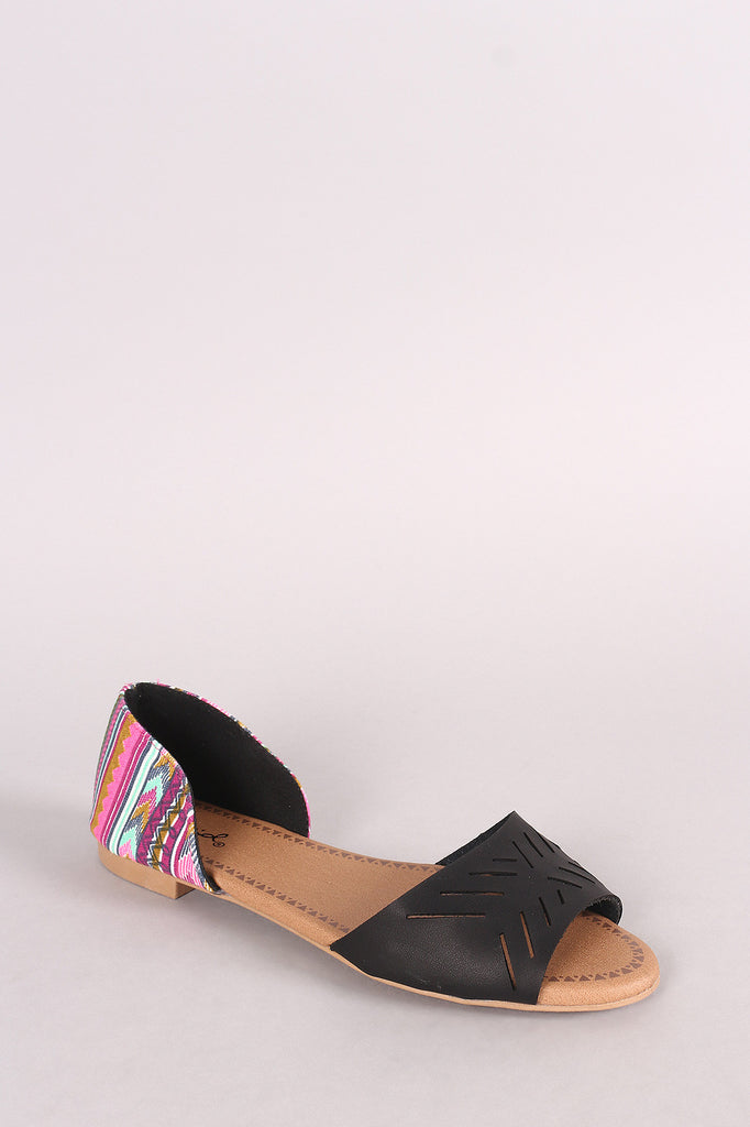 Qupid Geo Cutout Peep Toe Slip On Tribal Dorsay Flat