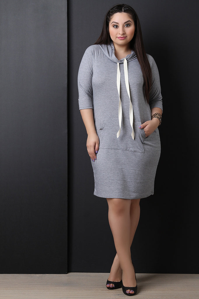 Jersey Knit Hoodie Midi Sweater Dress