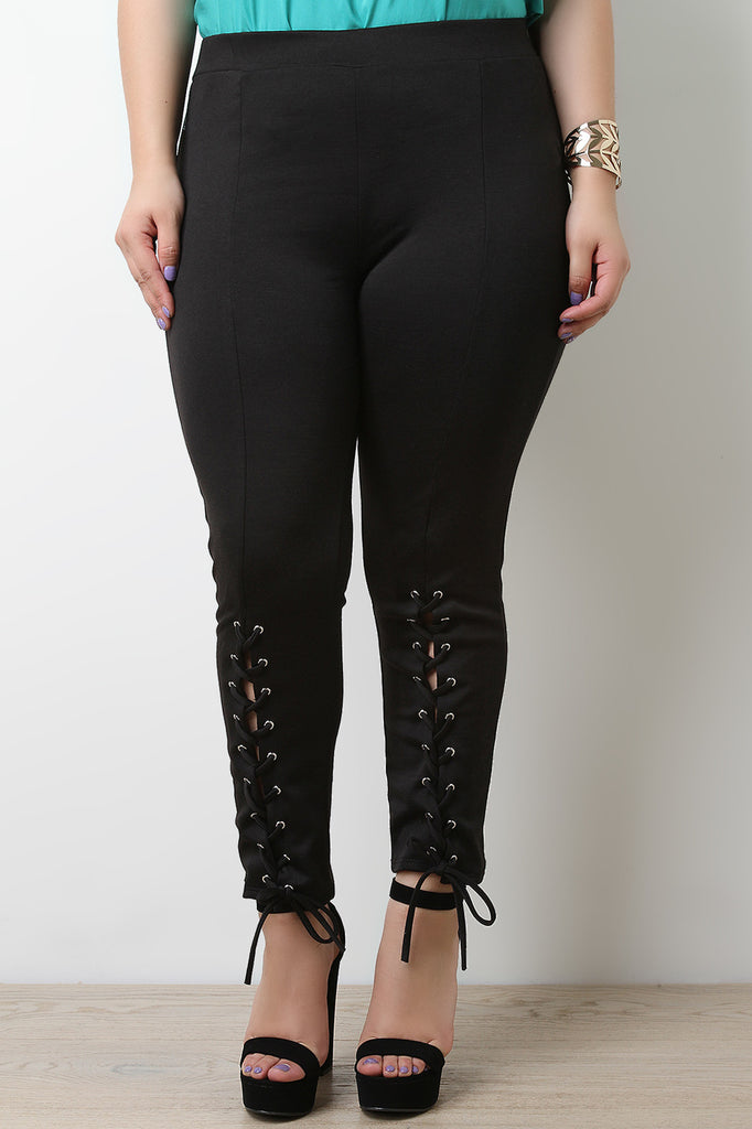 Eyelet Corset Lace Up Stretchy Pants