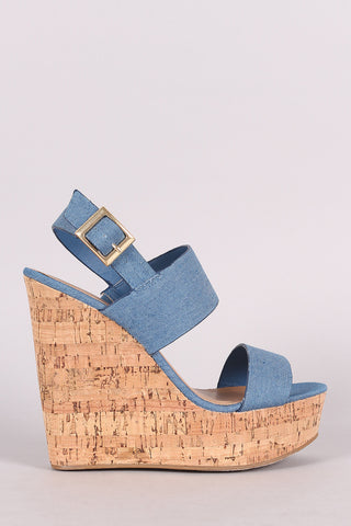 Bamboo Denim Double Band Platform Wedge
