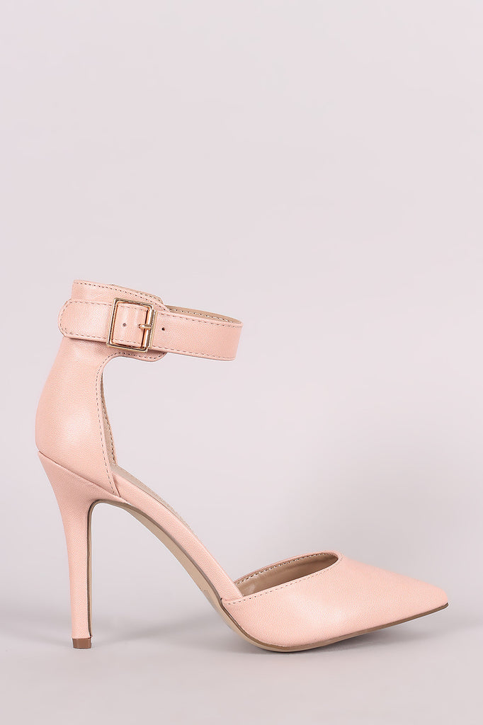 Breckelle Pointy Toe Ankle Strap Stiletto Pump
