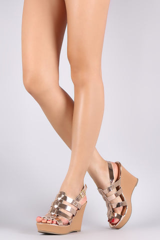Bamboo Double Band Platform Wedge