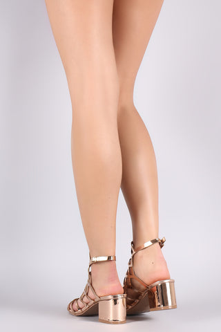 Mirror Metallic Caged Cutout Block Heel