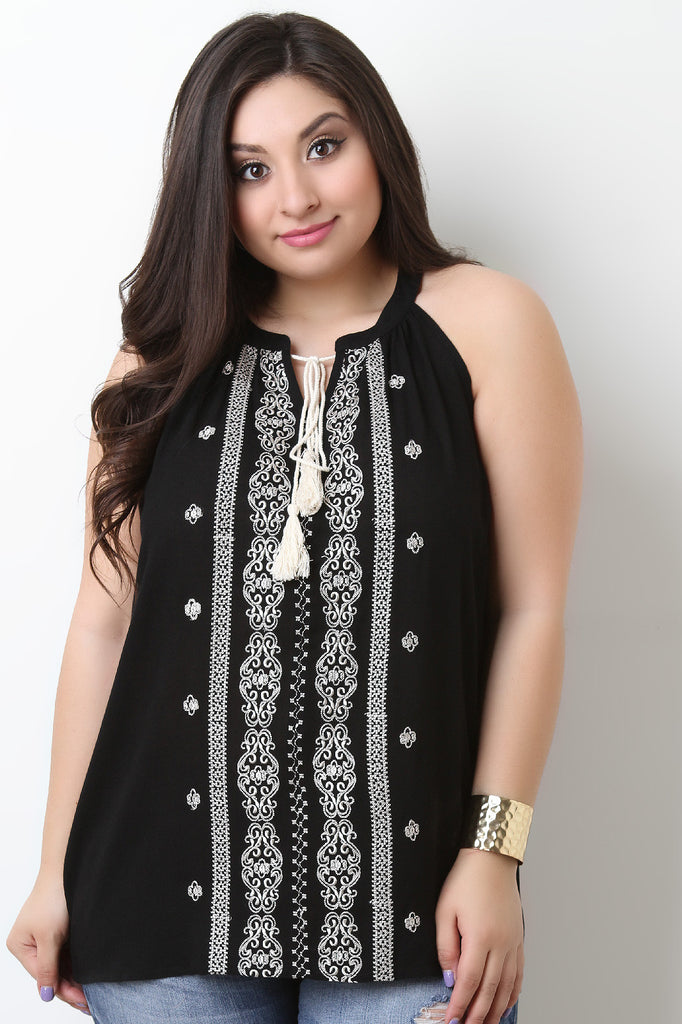 Sleeveless Embroidery Pattern Tassel Top