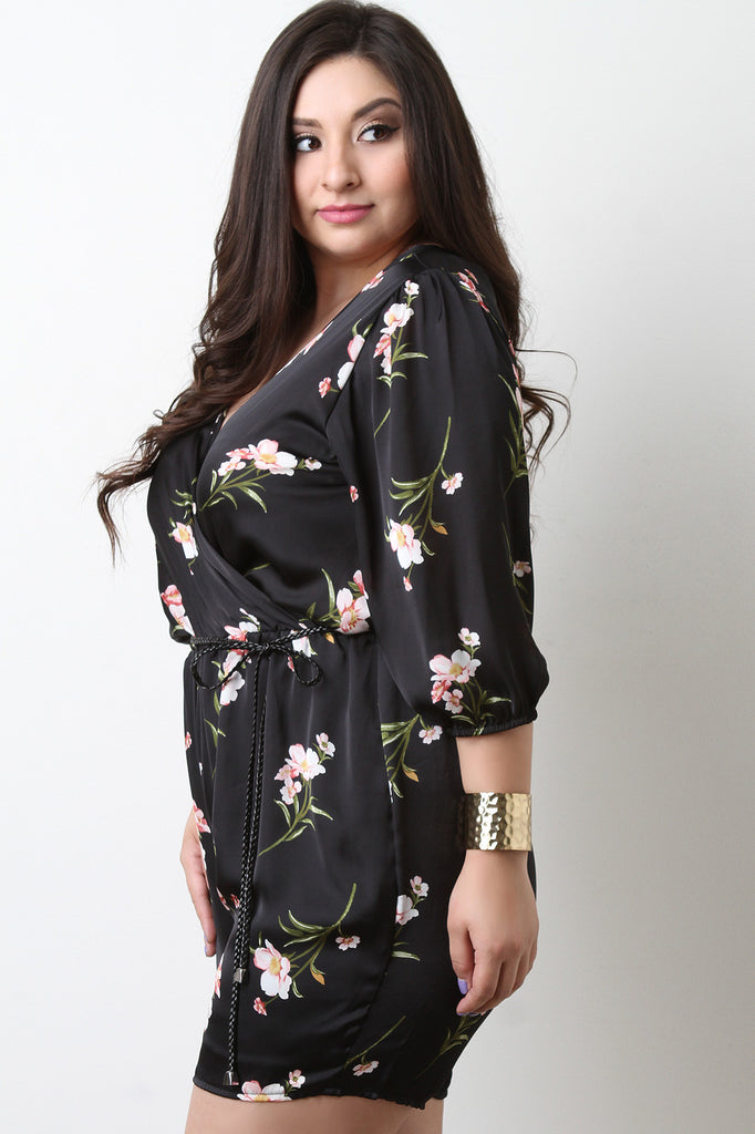 Surplice Self-Tie Belted Floral Satin Romper