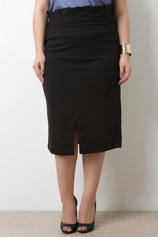 Stretchy Self-Tie Sash Ruffle Waist Midi Skirt