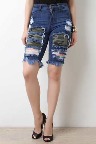 Camo Patched Denim Bermuda Shorts