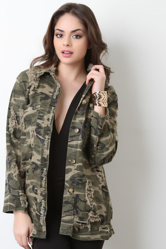 Distress Camouflage Utility Jacket