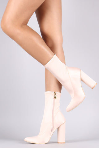 Satin Pointy Toe Chunky Heeled Boots