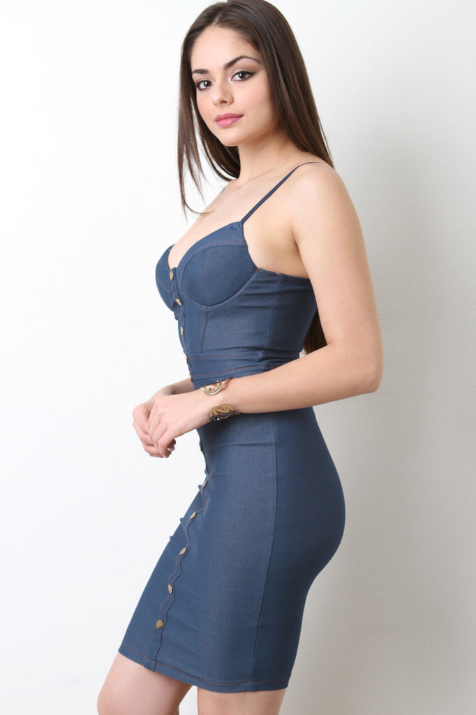 Button-Up Denim Bodycon Dress