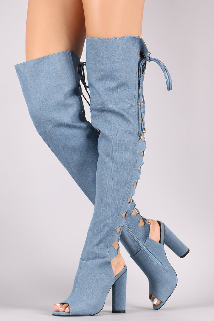 Denim Back Lace Up Chunky Heeled Over-The-Knee Boots