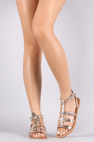 Metallic Studded Caged Gladiator Flat Sandal