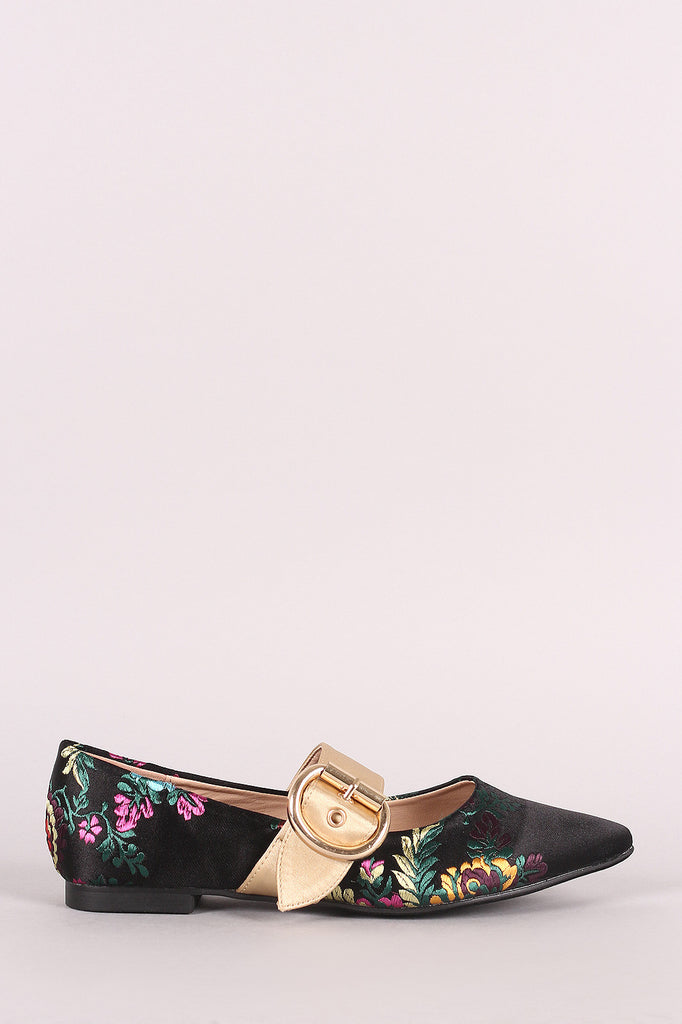Embroidered Floral Satin Pointy Toe Mary Jane Flat