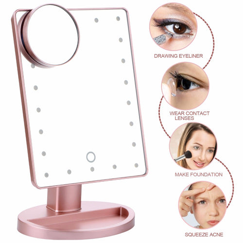 Vanity Makeup Mirror With Led Light and 10X Magnifying Mirror - 180 Degree Rotation