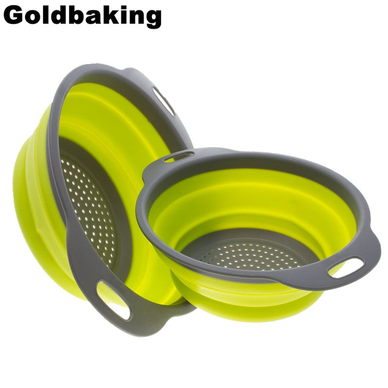 Collapsible Silicone Colander Folding Strainer 2 Pieces Including 8 Inch and 9.5 Inch