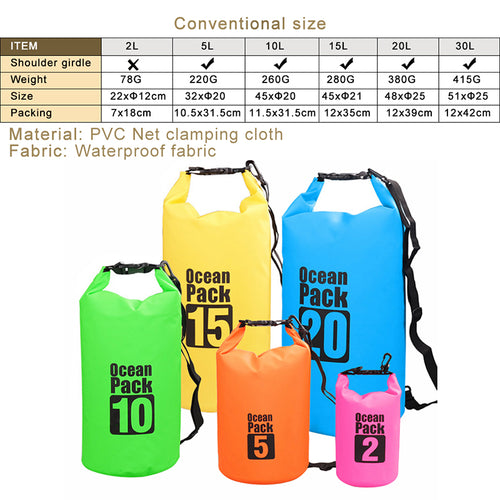 2L 3L 5L Waterproof Bags Dry Bag Water Resistant Swimming Storage Bag for Outdoor Kayak Canoe Rafting Upstream Pouch
