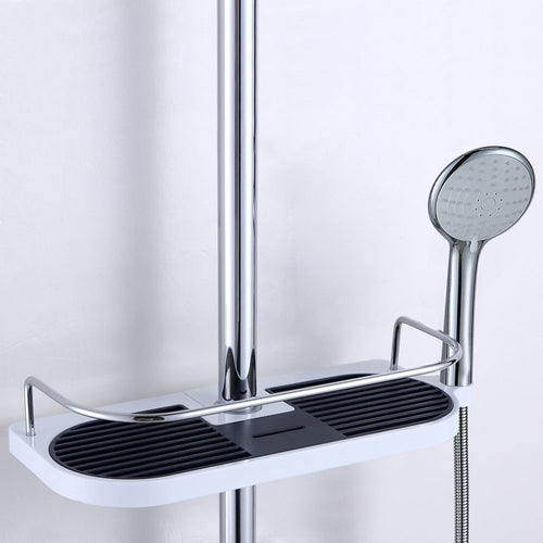Bathroom Pole Shelf Shower Storage Caddy Rack Organizer Tray Holder