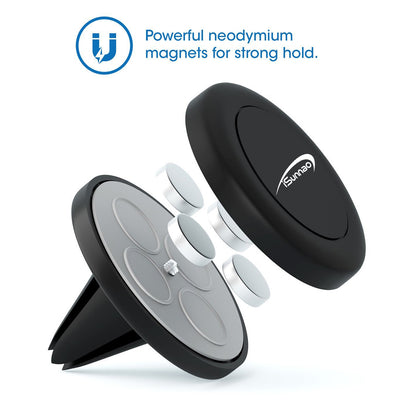 iSunnao Air Vent Magnetic Car Mount Holder for Smartphones - Black- 2 Piece