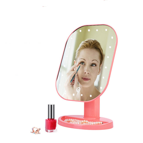 Vanity Makeup Mirror - 20 LED Light Touch Sensor - 180 Degree Rotation with Adjustable Stand