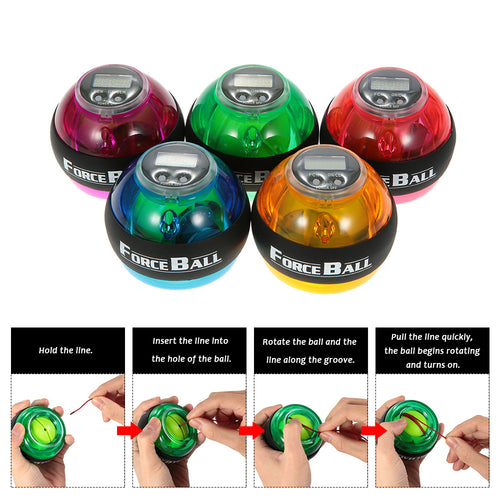 Gyroscopic Wrist and Forearm Exerciser Ball with Speed Meter Counter 12000 RPMS - 5 Colors