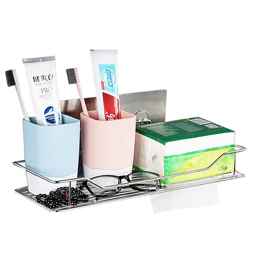 Hot Stainless Steel Bathroom Shelf Traceless Adhesive Tape Storage Holder Hanging Organizer Basket Bathroom Accessories