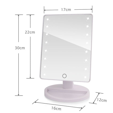 Vanity Makeup  Mirror With 180 Degree Rotation - LED Lights with Touch Sensor Switch