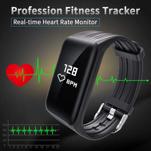 Fitness Tracker Smart Bracelet Real-time Heart Rate Monitor Waterproof watch