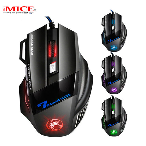 Double Click 7 Buttons 3200DPI USB Wired Gaming Mouse Optical for Computer PC