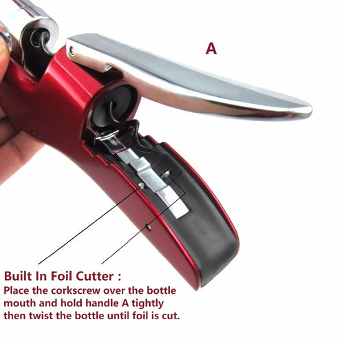 Zinc Alloy Wine Opener with Built-in Foil Cutter - Corkscrew Bottle Opener - Red
