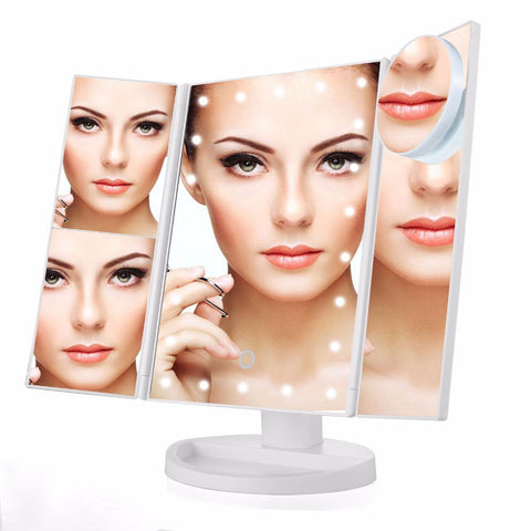 Three Folding Touch Screen Vanity Makeup Mirror with 21 LED Lights and 10X Magnifying Small Mirror
