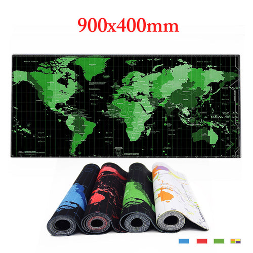 World Map Large Gaming Mouse Pad for Desktop Laptop - 900 x 400 mm