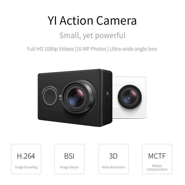 YI Action Camera 1080P 16MP Full HD 155 degree Ultra-wide Angle Action Camera & Selfie Stick