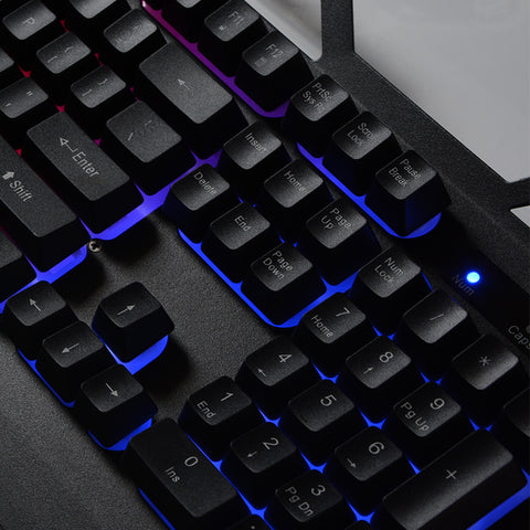 Wired USB Gaming Keyboard 104 Keys with Metal Panel Floating Backlit for PC / Desktop
