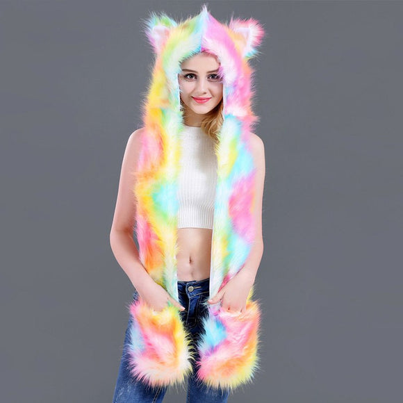 Animal Eared Multi-Color Fur Scarf