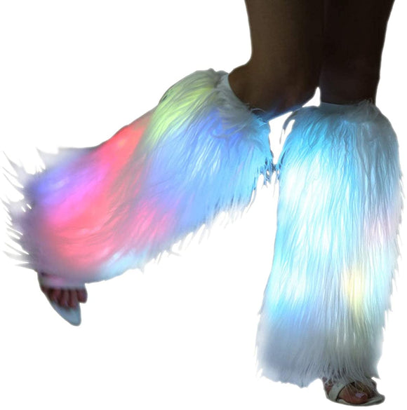 White Fur Leg Warmers For Women Neon Rave Led Fluffy 80s Sexy Dance Hosiery Fun Furry Light Up Leggings For Girls Boot Edm Christmas Unicorn Costume