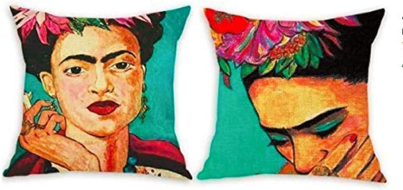 Frida Kahlo Self-Portrait Printed Cotton Linen Throw Pillow Case Cushion Couch Sofa Bed Cover 18