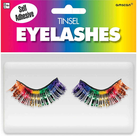 Amscan 397281 Non Toxic Self Adhesive Tinsel False Eyelashes, Rainbow