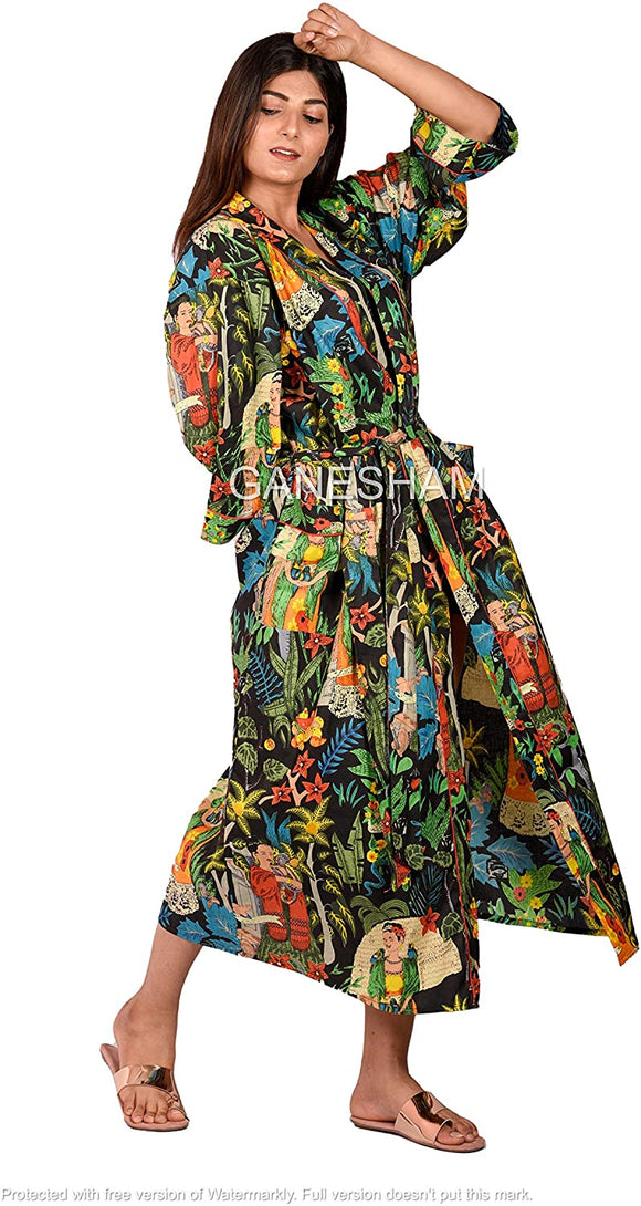 Handmade Frida Kahlo Design Sleepwear Beach Cover up Cotton Bath Robes Kimono Women Cardigan