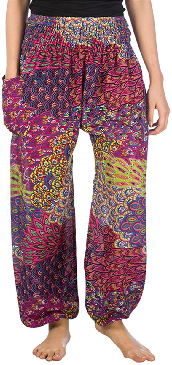 Colorful Floral Elephant Print Harem Pants Smock High Waist for Women S-4XL Plus Yoga Hippie Boho PJ Clothing